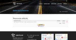 Página para revisar el coche seleccionado y proceder al pago
