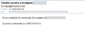 Se envía un email al equipo comercial con la nueva contraseña cada vez que se cambia