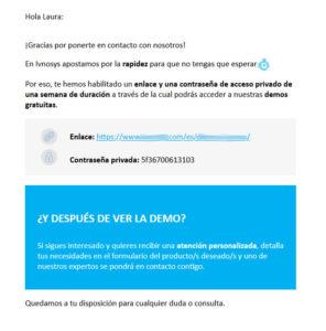 Email que se envía al cliente automáticamente con la contraseña vigente