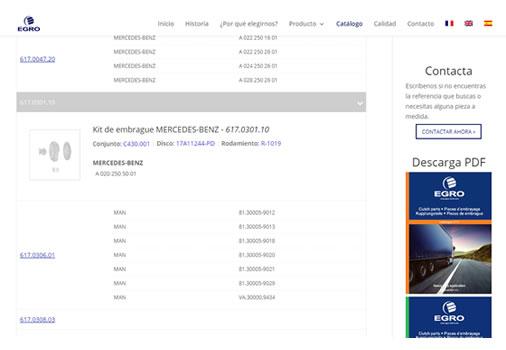 Catálogo online de piezas industriales con referencias cruzadas