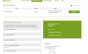 Los formularios de contacto se completan automáticamente al clicar en un curso