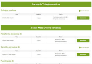Diseño del listado completo de los cursos ordenador por categorías y fechas